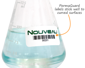 Asset label on a curved surface