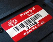 Asset tag on back of laptop