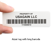 Asset tag with long barcode