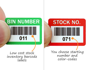 Barcode labels for stock numbers or bin locations