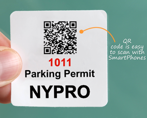 Barcode parking permit stickers scan with a SmartPhone
