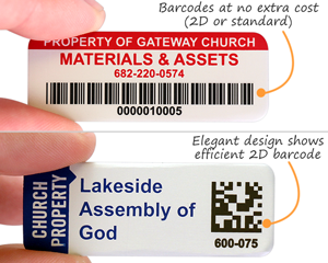 Church Property ID tags with barcodes