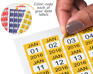 Color-code each of your date labels
