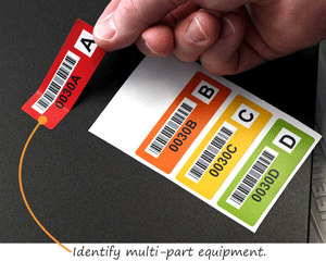 Colored barcode labels identify multipart equipment