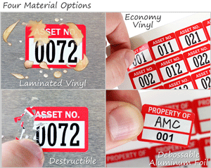 Compare stock asset tag materials