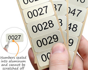 Consecutively numbered metal labels