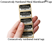 Consecutively numbered metal tags