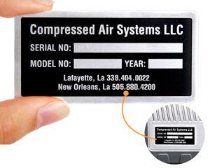 Equipment nameplate with adhesive