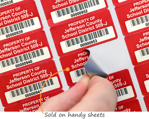 Asset labels sold on sheets
