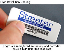 High resolution printing on metal tags