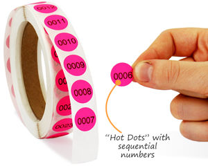Hot dots with sequential numbers
