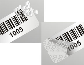 Barcode Tamper Evident Label on a Roll or Sheet