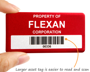 Large metal asset tag is easy to read and scan