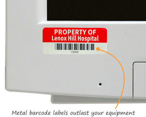 Metal barcode labels for hospitals