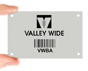 Metal barcode tag with holes
