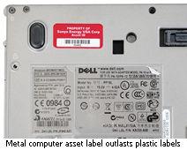 Metal computer asset label