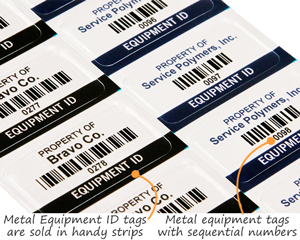 Metal equipment tags with sequential numbers