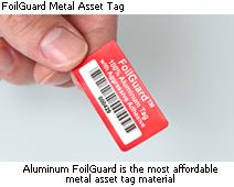 Foilguard metal asset tag
