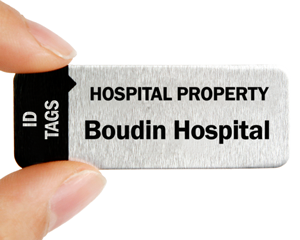 Metal property tag for hospital