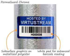 Metallized polyester asset labels