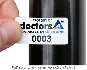 Numbered vinyl labels with logo