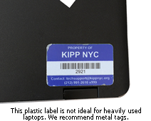 Plastic laptop label for a laptop shows wear and tear