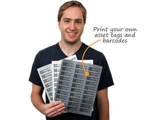 Laser printable sheets for barcodes or asset labels