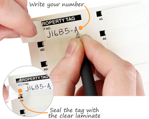 self-laminating property id tags