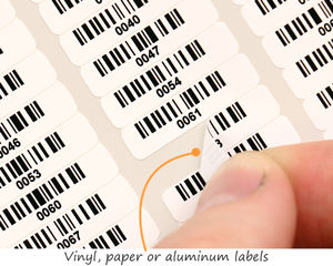 Small barcode labels from vinyl