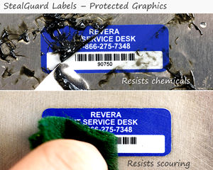 Tamper evident labels have protected graphics