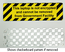 checkerboard tamper evident asset label