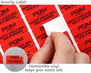 Tamper evident vinyl asset tags
