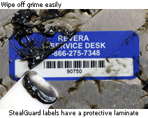 Tamperproof label has a protective laminate