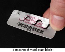 Tamperproof metal asset labels
