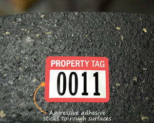 Thick adhesive on asset labels