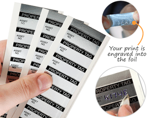 Write-on aluminum foil property id tags