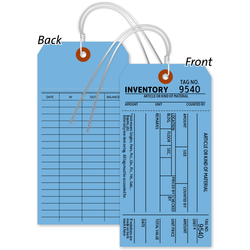 1-Part Blue Cardstock Tag With Wire, SKU - T401-B-C1-500-Wire