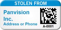 Stolen From Custom 2D Barcode Asset Tag