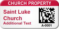 Custom 2D Church Property Barcode Asset Tag