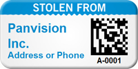 Custom 2D Stolen From Barcode Asset Tag