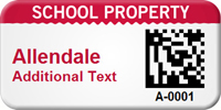 Custom 2D School Property Barcode Asset Tag