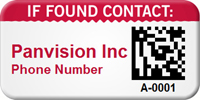 Custom 2D If Found Contact Barcode Asset Tag