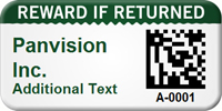 Custom 2D Reward If Returned Barcode Asset Tag