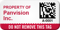 Custom 2D Do Not Remove Barcoded Asset Tag