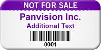 Custom Not For Sale Barcode Asset Tag