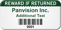 Customized Reward If Returned Asset Tag with Barcode