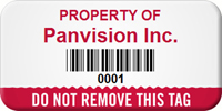 Do Not Remove Personalized Asset Tag with Barcode