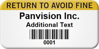 Return To Avoid Fine Custom Barcode Asset Label