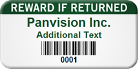 Barcoded Reward If Returned Custom Asset Tag
