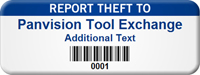 Customizable Report Theft Asset Tag with Barcode